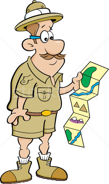 Cartoon Explorer Looking at a Map Stock photo © bennerdesign
