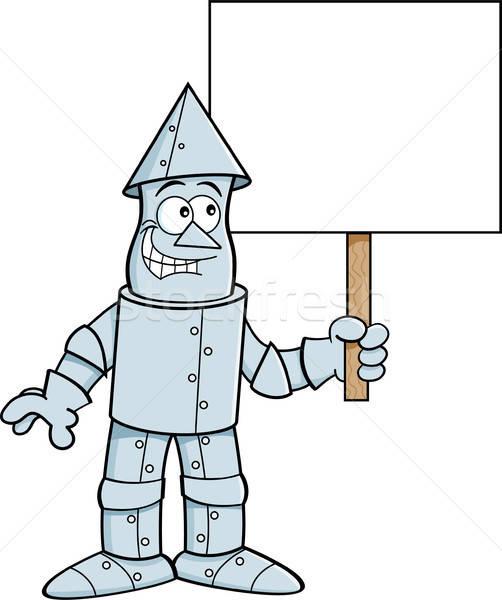 Karikatür kalay adam imzalamak örnek Stok fotoğraf © bennerdesign