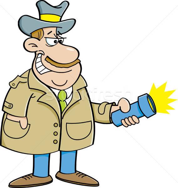 Cartoon détective lampe de poche illustration lumière Photo stock © bennerdesign