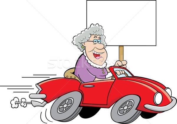 Cartoon старушку вождения Спортивный автомобиль знак Сток-фото © bennerdesign