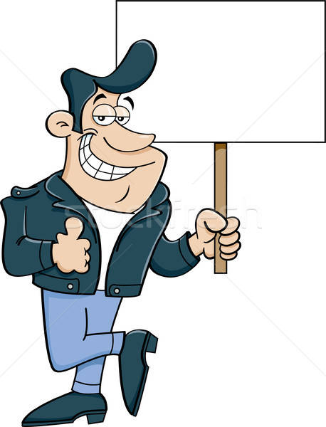 Cartoon Man Giving Thumbs Up and Holding Sign Stock photo © bennerdesign