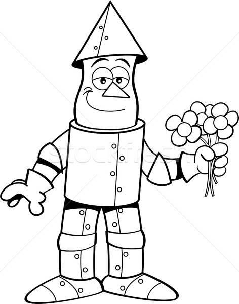 Cartoon cyna człowiek kwiaty czarno białe Zdjęcia stock © bennerdesign