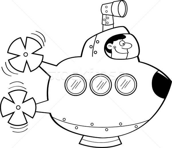 Cartoon man in a submarine. Stock photo © bennerdesign