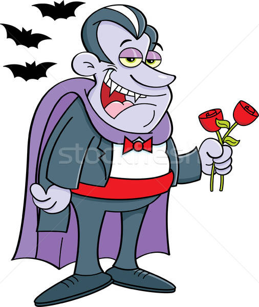 Vampire standing with a rose Stock photo © bennerdesign
