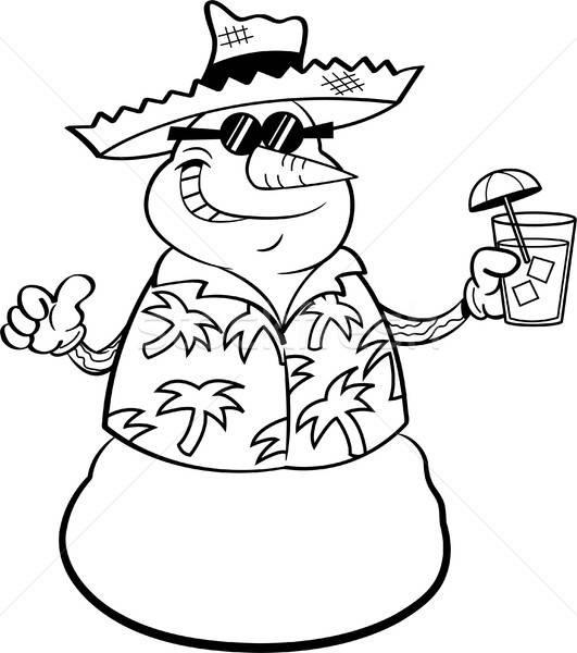 Сток-фото: Cartoon · снеговик · соломенной · шляпе