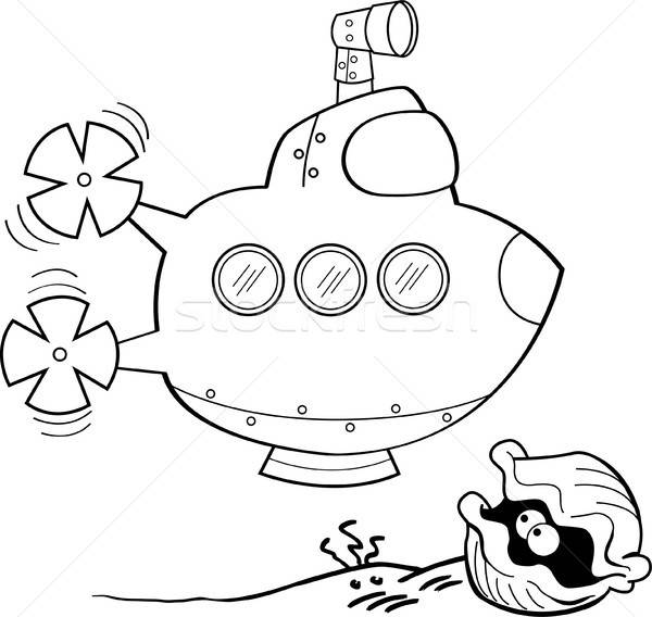 Cartoon submarine and clam. Stock photo © bennerdesign