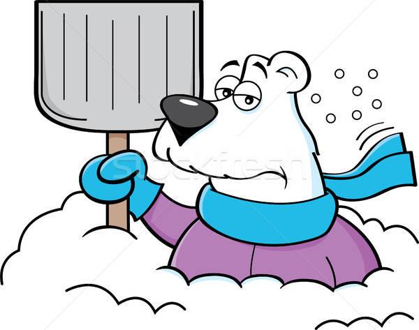 Rajz jegesmedve tart hó ásó illusztráció Stock fotó © bennerdesign