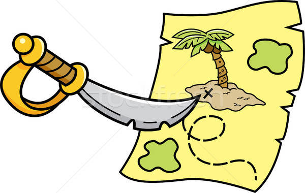 Cartoon Sword Pointing at a Treasure Map Stock photo © bennerdesign