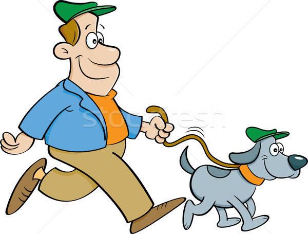 Cartoon человека ходьбе собака иллюстрация счастливым Сток-фото © bennerdesign
