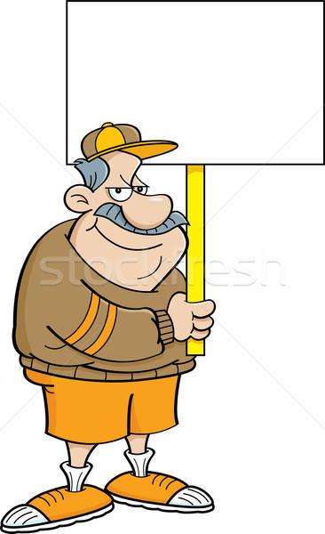 Cartoon Coach Holding a Sign Stock photo © bennerdesign
