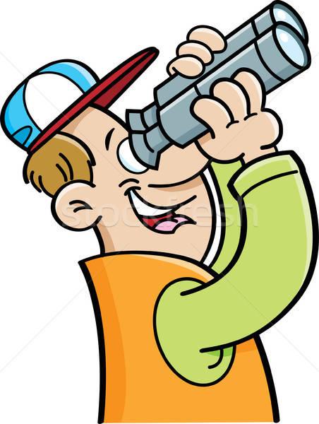 Desenho animado homem olhando binóculo ilustração engraçado Foto stock © bennerdesign