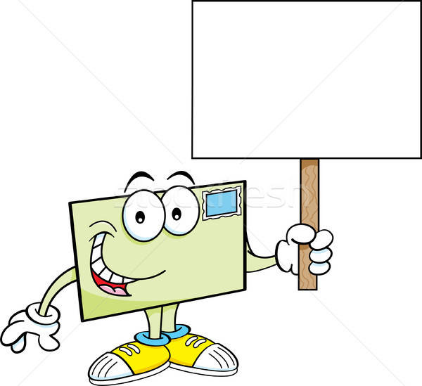 Cartoon envelope holding a sign. Stock photo © bennerdesign