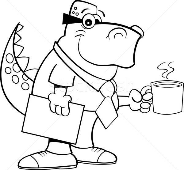 Photo stock: Cartoon · dinosaures · tasse · de · café · blanc · noir · illustration