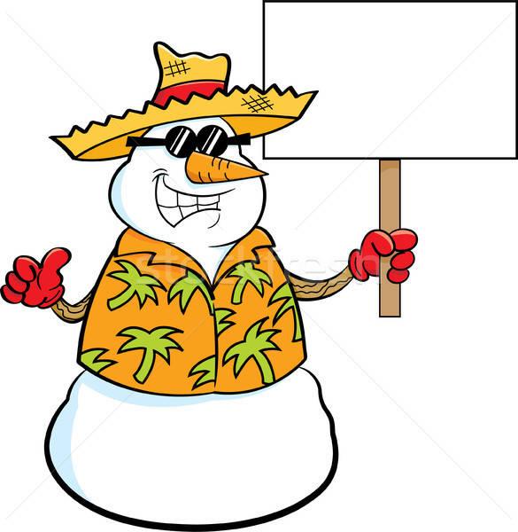 Cartoon sneeuwpop strohoed teken Stockfoto © bennerdesign