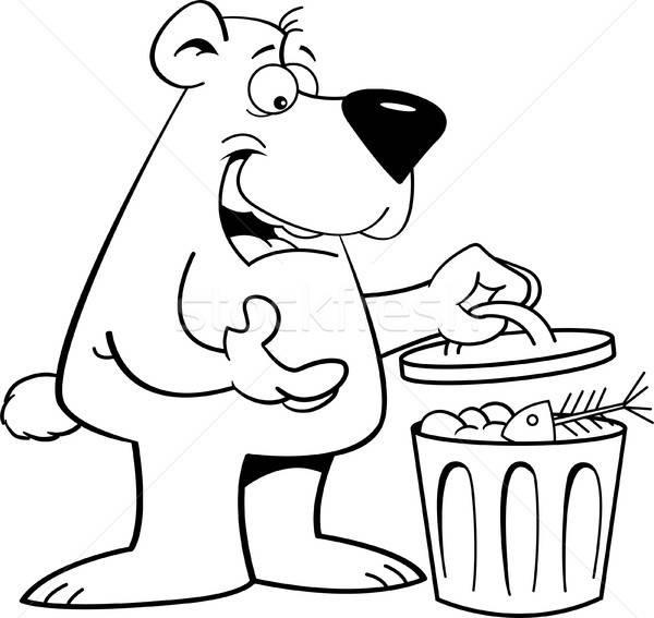 Cartoon ponosi pojemnik na śmieci czarno białe ilustracja patrząc Zdjęcia stock © bennerdesign