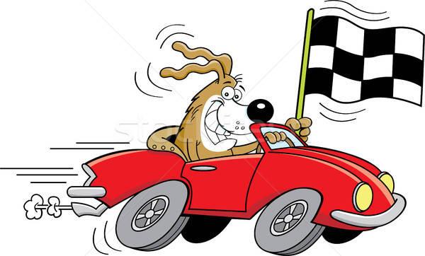 Rajz kutya autó integet kockás zászló Stock fotó © bennerdesign
