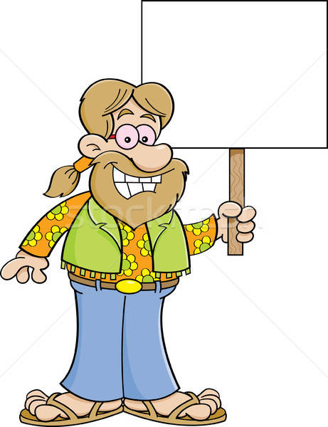 Cartoon hippie holding a sign. Stock photo © bennerdesign