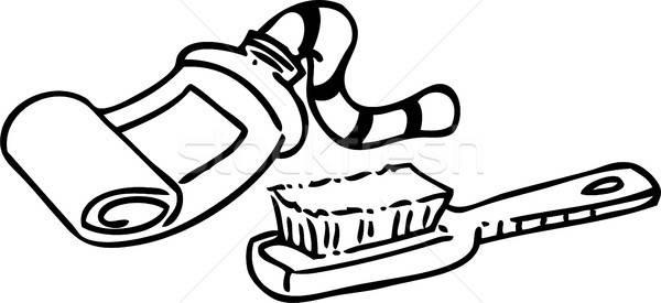 Karikatür diş macunu diş fırçası siyah beyaz örnek tüp Stok fotoğraf © bennerdesign