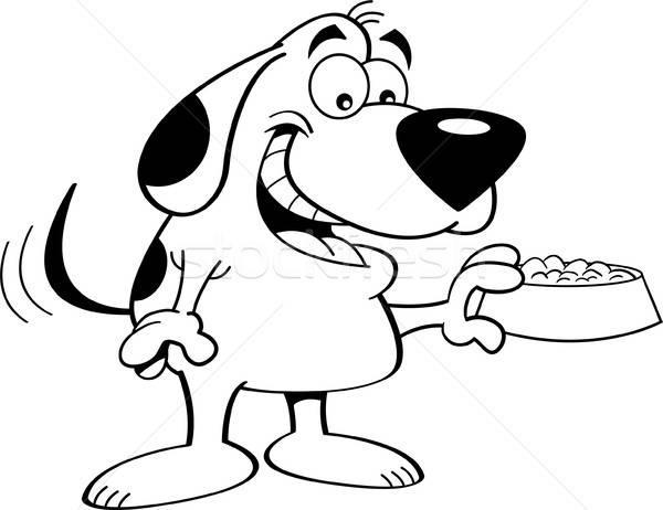 Cartoon Dog Holding a Dog Food Dish (Black & White Line Art) Stock photo © bennerdesign