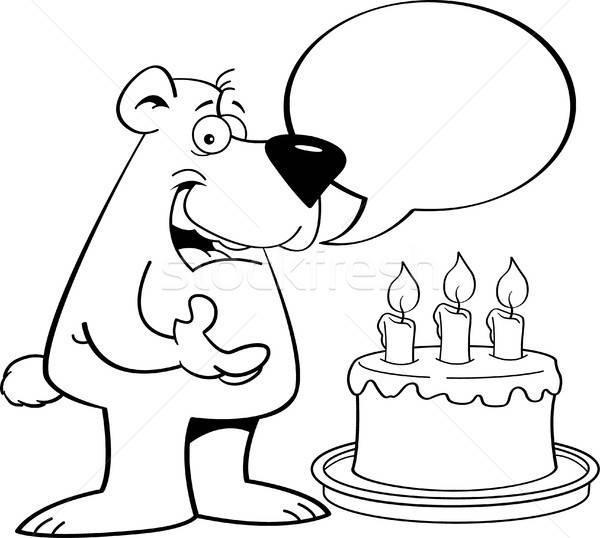 Desenho animado tenha bolo de aniversário preto e branco ilustração Foto stock © bennerdesign