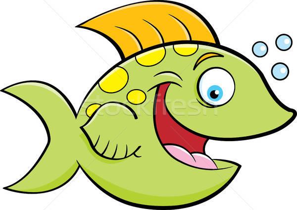 Rajz mosolyog hal buborékfújás illusztráció Stock fotó © bennerdesign