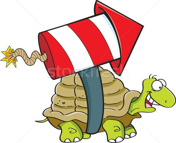 Cartoon turtle with a rocket. Stock photo © bennerdesign
