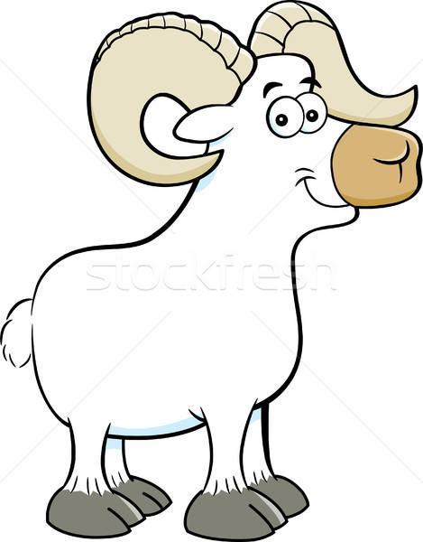 Cartoon uśmiechnięty baran ilustracja owiec Zdjęcia stock © bennerdesign