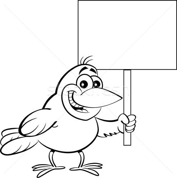 Cartoon vogel teken zwart wit illustratie Stockfoto © bennerdesign