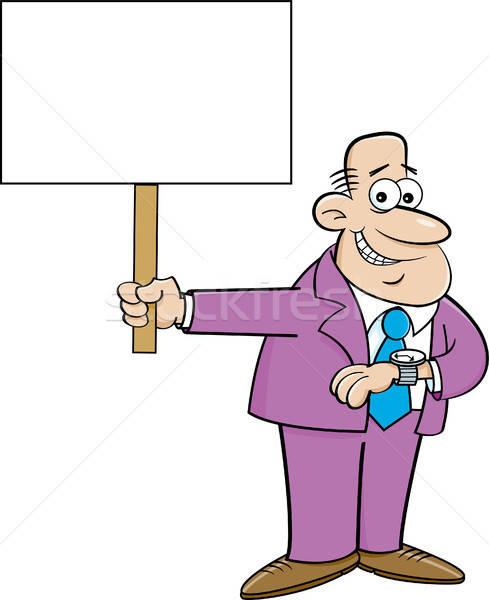Cartoon человека глядя Смотреть знак Сток-фото © bennerdesign