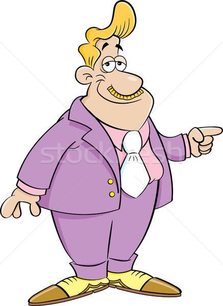 Cartoon Man in a Suit Pointing Stock photo © bennerdesign