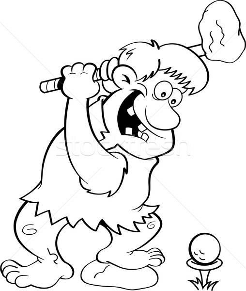 漫画 穴居人 演奏 ゴルフ 黒白 実例 ストックフォト © bennerdesign