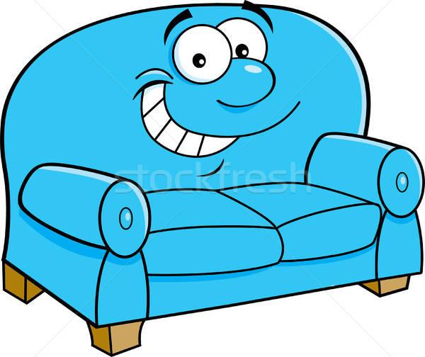 Cartoon улыбаясь диване иллюстрация счастливым мебель Сток-фото © bennerdesign