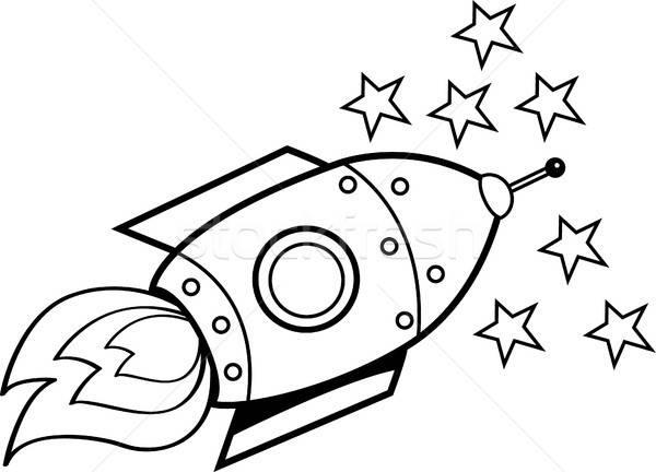 Cartoon astronave estrellas blanco negro ilustración viaje Foto stock © bennerdesign