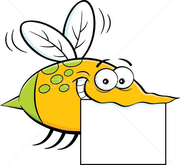 Cartoon Flying насекомое знак иллюстрация Сток-фото © bennerdesign