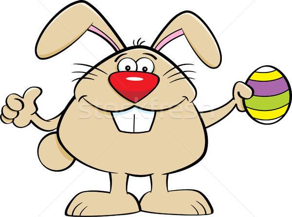 Rajz húsvéti nyuszi tart húsvéti tojás illusztráció remek Stock fotó © bennerdesign
