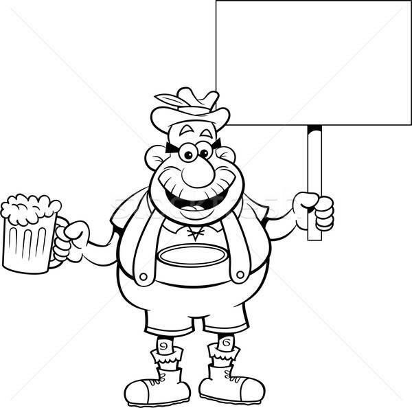 Cartoon Man Holding a Beer and a Sign Stock photo © bennerdesign