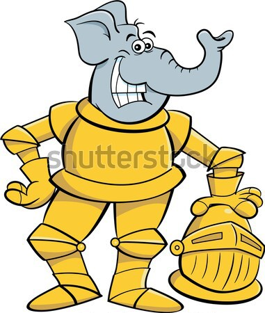 Cartoon knight leaning on a sword. Stock photo © bennerdesign