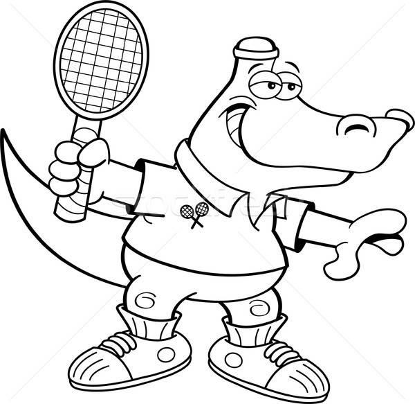 Cartoon аллигатор играет теннис черный белый Сток-фото © bennerdesign