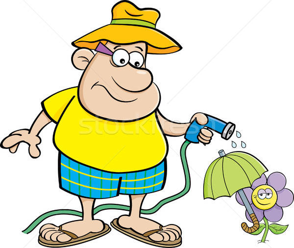 Cartoon Man Watering a Flower with a Garden Hose Stock photo © bennerdesign