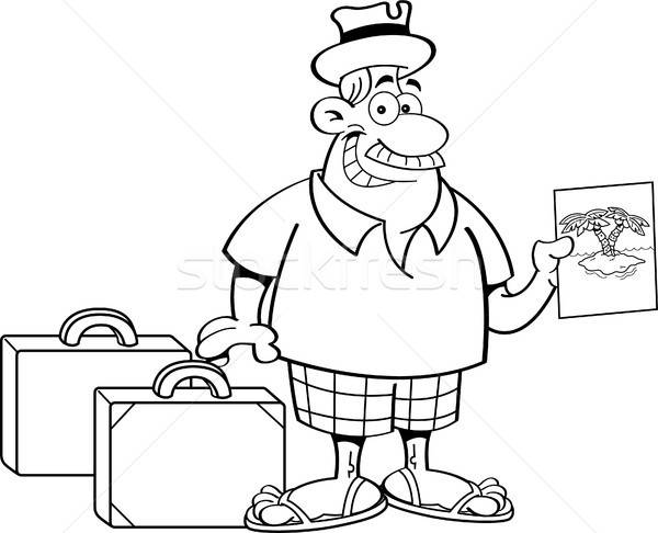 Cartoon man with suitcases. Stock photo © bennerdesign
