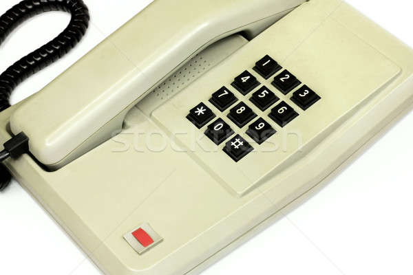 Old simple office desk phone and cable Stock photo © berczy04
