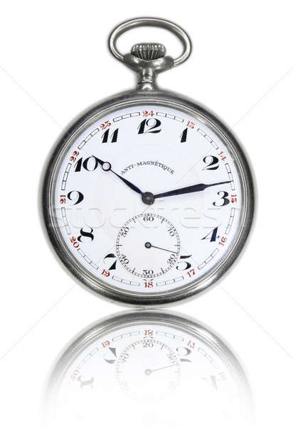 Vintage pocket watch mirrored Stock photo © berczy04