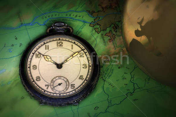 Pocket watch on map Stock photo © berczy04