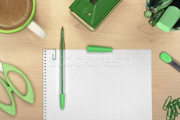 Office tools on wooden desk with coffee Stock photo © berczy04