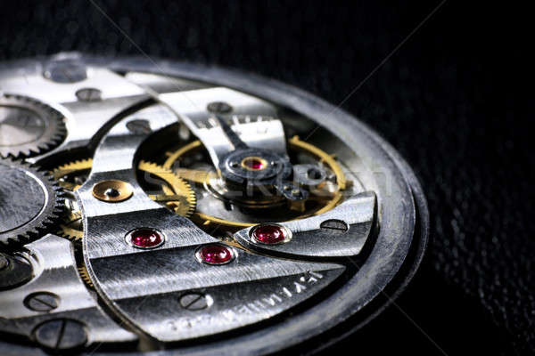 Pocket watch inside with rubies close up Stock photo © berczy04
