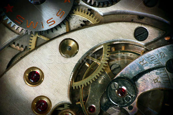 Old swiss made pocket watch inside with vignette Stock photo © berczy04