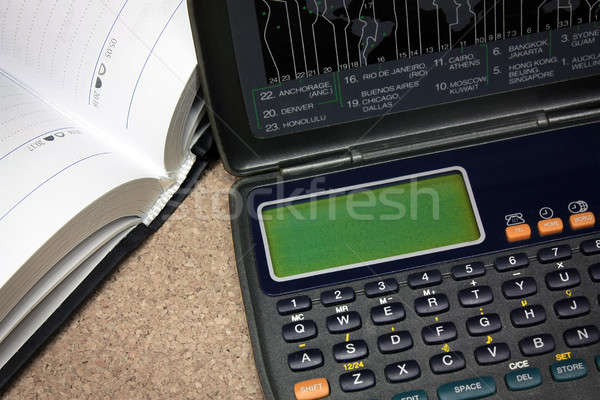 Manager calculator, digital diary with notebook Stock photo © berczy04