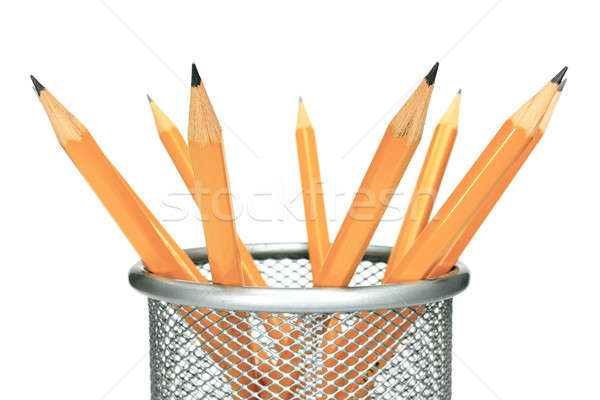 Pencils in holder Stock photo © berczy04