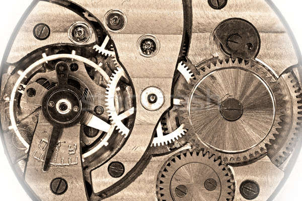 Old soviet pocket watch mechanism in sepia Stock photo © berczy04