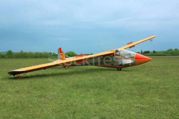Glider plane on grass Stock photo © berczy04